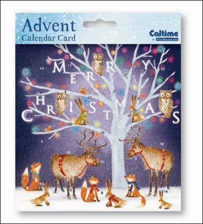 Mini Advent Calendar Card (WDM4379) Under the Tree - Woodland Creatures Around the Tree Woodmansterne