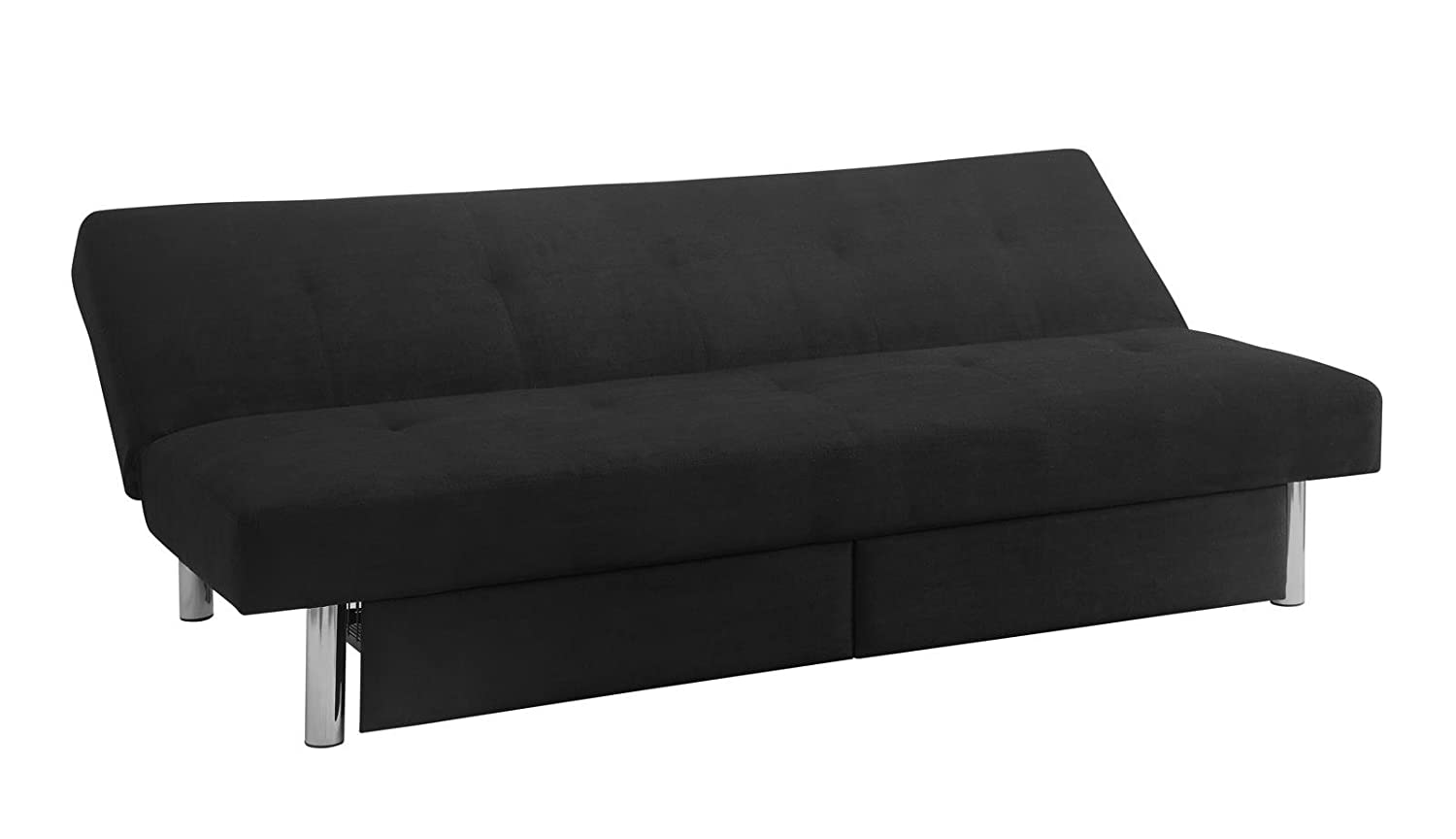 amazon    dhp sola convertible sofa futon with space saving storage  partments chrome legs and upholstered in rich black microfiber  home  u0026 kitchen amazon    dhp sola convertible sofa futon with space saving      rh   amazon
