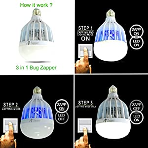 BUG ZAPPER Light Bulb 2017 Upgraded 110V 12 UV LED Mosquito Killer Lamp E27 Socket DUAL-USE Insect Killer LED Bug Light For INDOOR-OUTDOOR KITCHEN GARAGE PORCH DECK PATIO GYM CAMPING