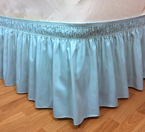 Elastic Ruffle Bed Skirt Easy Warp Around Pins Included By CT Discount Store (Twin/Full, Blue) (Full Lift Storage Size Bed)