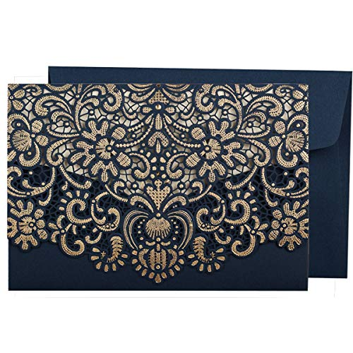 (WISHMADE 1PCS Navy Blue Wedding Invitations Card with Horizontal Laser Cut Hollow Flora Sample Invite for Birthday Engagement Bridal Shower Dinner Party with Envelope)