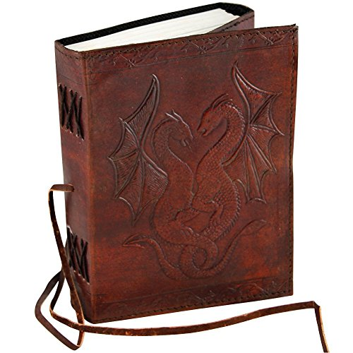 Dragon Leather - Leather Double Dragon Embossed Beautiful Journal For Artist And Work