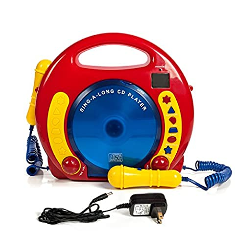 Portable Sing Along CD/USB/SD player Anti skip, with 2 Microphones & AC adapter - Sing Along Microphone