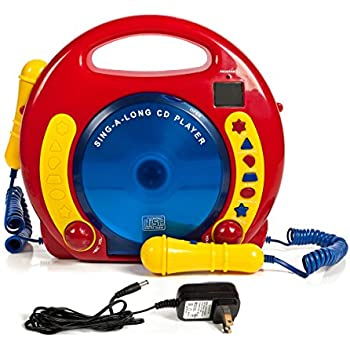 Portable Sing Along CD/USB/SD player Anti skip, with 2 Microphones & AC adapter