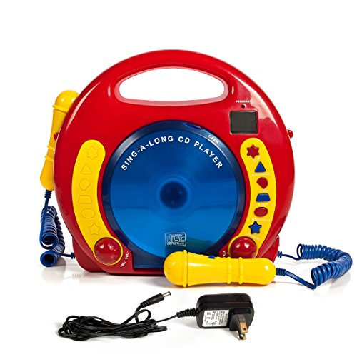 Kids Toys Music Player - IQ Toys Portable Sing Along CD/USB/SD Player Anti Skip, with 2 Microphones & AC Adapter