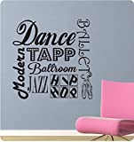 24'' Dance Sayings Collage Girl Tapp Ballet Jazz Modern Ballroom Sports Wall Decal Sticker Art Mural Home Décor Quote