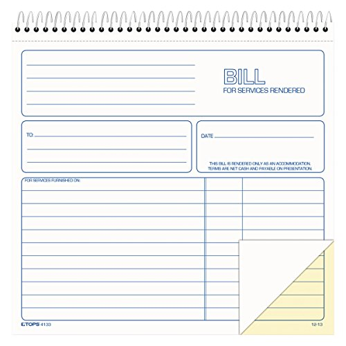 TOPS 2-Part Carbonless Bill for Services Rendered Book, 8.5 x 8.25 Inches, 50 Sheets, White, (4133) by Tops