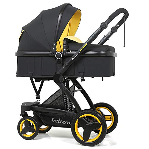 AWL-J Luxury Stroller Travel System with Anti-Vibration Spring Folding Newborn Stroller Adjustable High View Stroller,Yellow