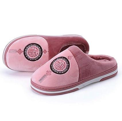 SHANGXIAN Invierno Interior Antideslizante Pantuflas Dormitorio Casual Suave Y Comodo Felpa Zapatos De La Casa,