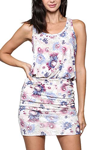 - LaClef Women's Mini Ruched Tank Shift Dress (White Floral, L)