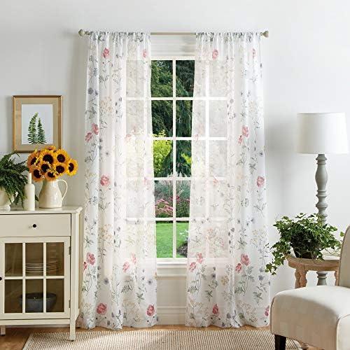 MARTHA STEWART Marthas Garden Floral Semi-Sheer Rod Pocket Window Curtain Panel Pair