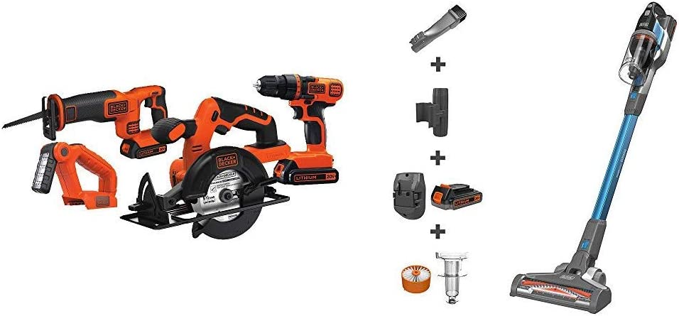 BLACK+DECKER 20V MAX Cordless Drill Combo Kit with POWERSERIES Extreme Cordless Stick Vacuum, Blue (BD4KITCDCRL & BSV2020G)