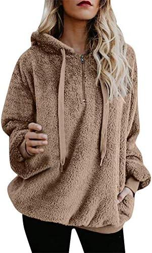 Hamleo Women Drawstring Oversized Hoodie Sweatshirt Hoodie Pullover Tops,Women's Fuzzy Fleece Blosues with Pockets