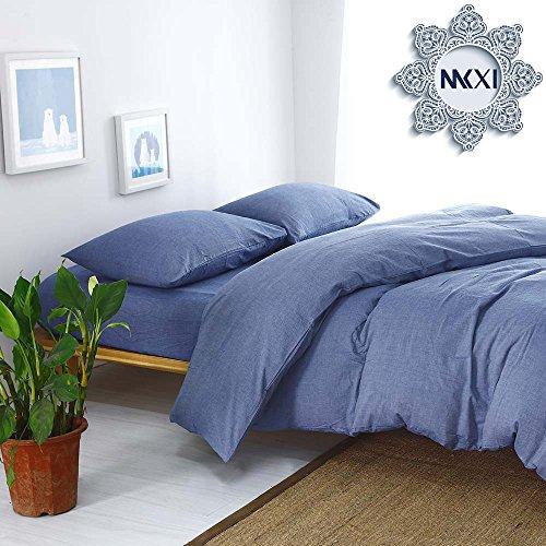 Blue Denim Comforter Set (Solid Elegant Comforter Cover, MKXI Home Bedroom Cotton Denim blue Duvet Cover Set)
