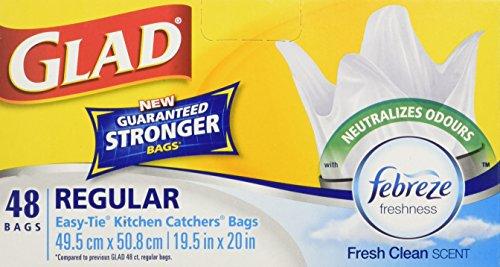 Glad Easy-Tie Regular Kitchen Catchers Garbage Bags with Febreze Freshness, 48 ct