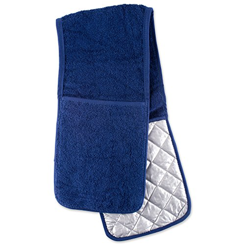DII Cotton Long Terry Double Oven Mitt, 36 x7.5, Machine Washable and Heat Resistant Baking Glove/Moppine for Kitchen Cooking and Baking-Nautical Blue