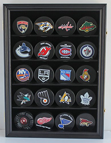 Hockey Puck Display Case Shadow Box Wall Cabinet (Pucks not inlcuded), UV Protection Door (Black) ()