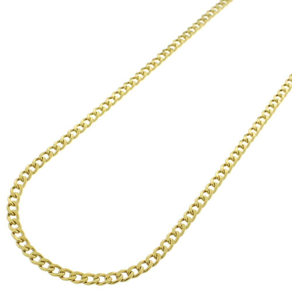 10k Yellow Gold 2.5mm Hollow Cuban Curb Link Necklace Chain 18'' - 24'' (24) by In Style Designz