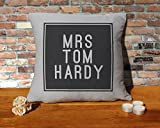 Tom Hardy Cushion Pillow - Silver Grey - 100% Cotton - Available with or without filling pad - 40x40cm (Cover and filling pad)