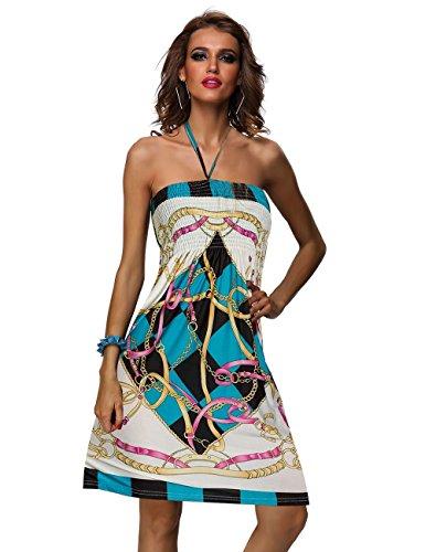 Amour Women's Retro Maxi Hippie Boho Paisley Print Strapless Dress