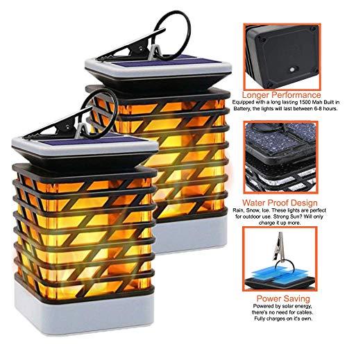 - Solar-Flame-Light Waterproof Solar Powered Flame Lights for Garden Landscape Dancing Flickering Outdoor-Hanging-Lantern (Pack of 2)