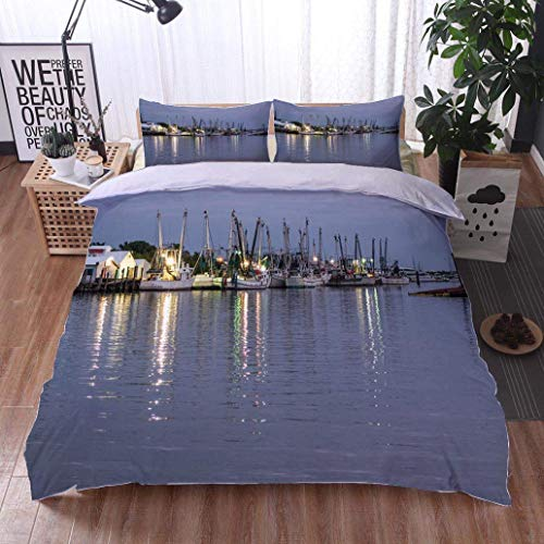 VROSELV-HOME Style 3D Digital Print Bedding Sets,Fort Myers Fishing Fleet,Soft,Breathable,Hypoallergenic,100% Cotton Beding Linens for Kids Children - Fort Myers Pink Girl