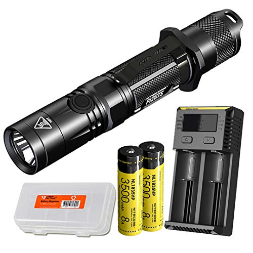 Nitecore P12GTS 1800 Lumen LED Tactical Flashlight with 2X Rechargeable High Performance Batteries, 2 Channel Charger, and LumenTac Battery Organizer