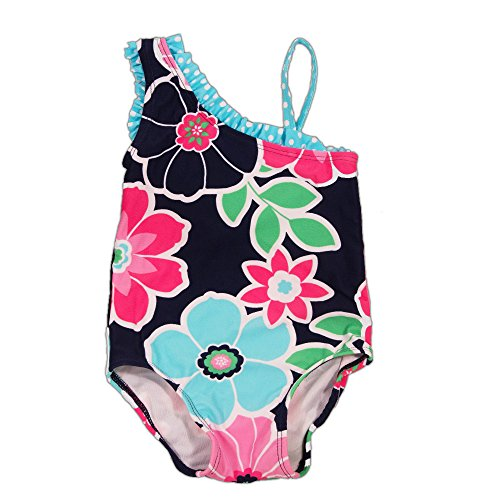 Girls 1-piece Ruffle Swim Suit - UPF 50 Protection (M/12 (Circo Blue Swimsuit)