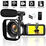 Camcorder 2.7K Vlogging Camera WiFi Video Camera Night Vision Digital Cameras with Microphone Vlog Blogging Camcorders for YouTube