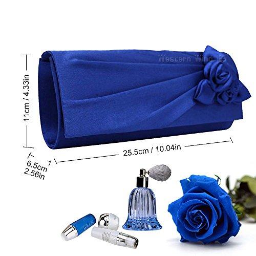 Ladies Blue Clutch Bag Royal With Women Party Prom Handbag Bridal Wedding Wocharm Evening Rose Satin Rw1q5WqZx6
