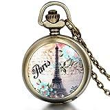 JewelryWe Paris Eiffel Tower Steampunk Locket Pendant Quartz Pocket Watch Necklace 31Inch Chain (Style C)