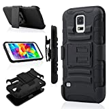 Galaxy S5 Case,Jwest Impact Resistant S5 Neo Case Rubber&Plastic Hybrid Full-Body Rugged Drop Resistant Kickstand + Swivel Belt Clip Holster Protective Case Cover for Samsung Galaxy S5/S5 Neo Black