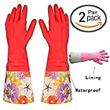 2 Pair Decorative Latex Cleaning Dishwashing Gloves With Fancy Cuff with Flock Lining