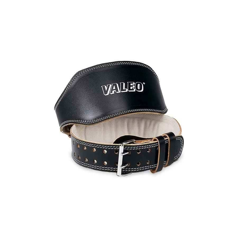 Valeo 4 Inch Padded Leather Lifting Belt For Men And Women With Back Support for Weightlifting And Suede Lined Foam Lumbar Pad