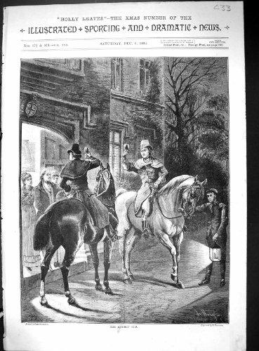 Old Original Antique Victorian Print 1884 Stirrup Cup Celebration Horses Mansion House 433J514