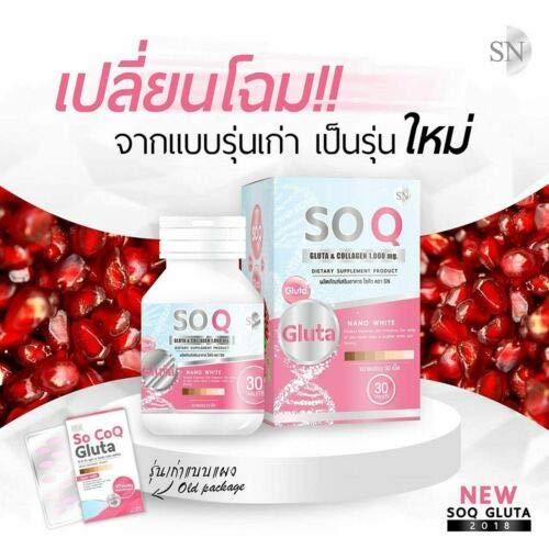 10 Pcs So CoQ Gluta & Collagen 1000 Mg. Whitening Skin Strengthening 30 capsules