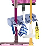 : Mop and Broom Holder Cooper GTV Garage Storage Rack Hooks Wall Mounted Organizer for Home Garden Tool Shelving (3 position 4 hooks)