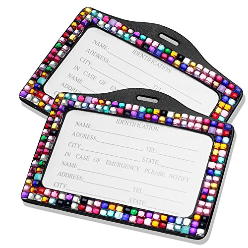 [Pack of 2] Multi-Colors Rainbow Bling Faux Crystal Rhinestone Horizontal ID Card Badge Holder for Office, Club Party, Birthday, Wedding, Conference and All Events