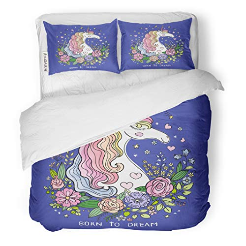 Semtomn Decor Duvet Cover Set King Size Colorful Born to Dream Beautiful Unicorn on Blue Graphics 3 Piece Brushed Microfiber Fabric Print Bedding Set Cover -