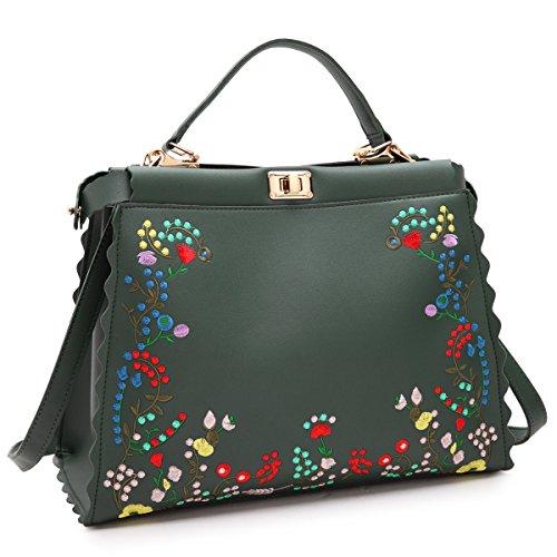 DASEIN Fashion Flower Embroidery Handbag Designer Floral Print Shoulder Bag Tote Purse Floral Print Satchel
