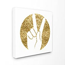 Stupell Home Décor Peace Hand Silhouette Gold Stretched Canvas Wall Art, 17 x 1.5 x 17, Proudly Made in USA