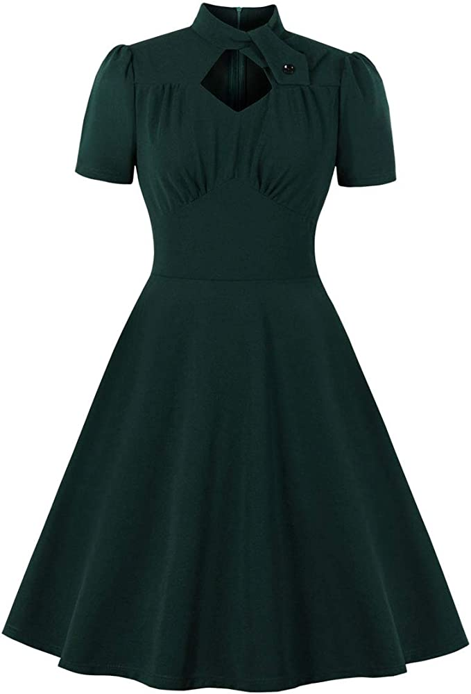 1940s Dresses | 40s Dress, Swing Dress Wellwits Womens Mock Neck Diamond Cutout Pleated Front 1940s Vintage Dress  AT vintagedancer.com