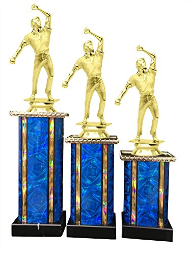 Cricket Bowler Award Trophy (3-Pack) 1st 2nd 3rd Place by Express Medals
