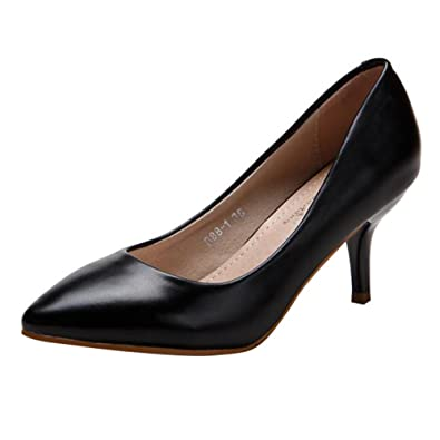 Damen Pumps Leder - Elegant Bequeme Schuhe Mittlerer Absatz Party Abendschuhe Spitze Schuhe mit 7cm Absatz