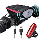 Super Bright Bike Light Set USB Rechargeable Headlight with a Horn Waterproof LED Bicycle Light Set Easy to Install Cycling Safety Commuter Flashlight Best for Mountain Road, Kids and City Bicycle