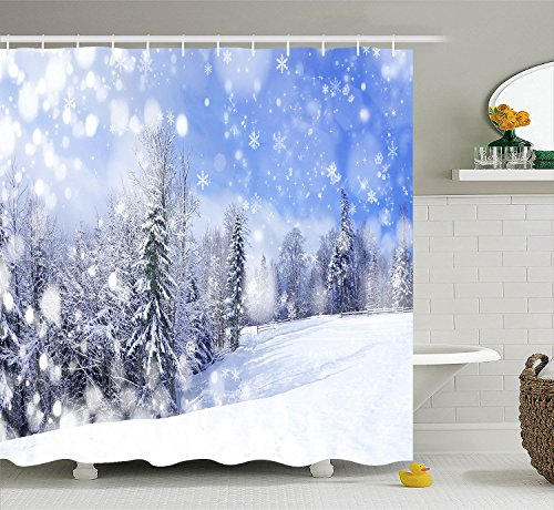 Unique Pictures of A beautiful deep forest snow scene Purple Polyester Waterproof Shower Curtain-Bathroom Accessories SIZE 69 X 84 (Snow Scenes Pictures)