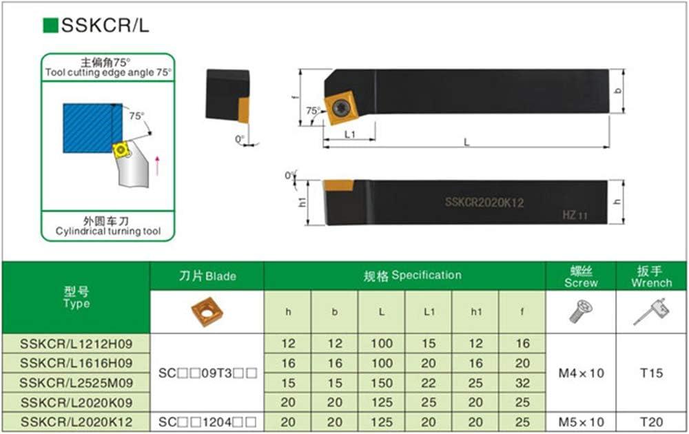 Gaobey 75/°SSKCR 2020K09 Index External Lathe Turning Holder For SCMT inserts
