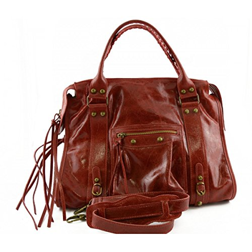 Made With Italy Handbag Woman Laces Leather Studs Woman Tuscan And Leather In Bag Genuine Red Color Y5YrSwTqxH