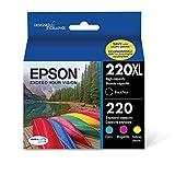 Epson T220XL-BCS Cartridge Ink, 4 Pack, Black, Cyan, Magenta, Yellow