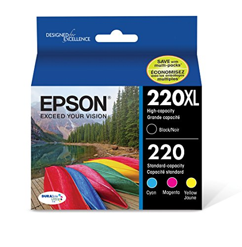 (Epson T220XL-BCS Cartridge Ink, 4 Pack, Black, Cyan, Magenta, Yellow)